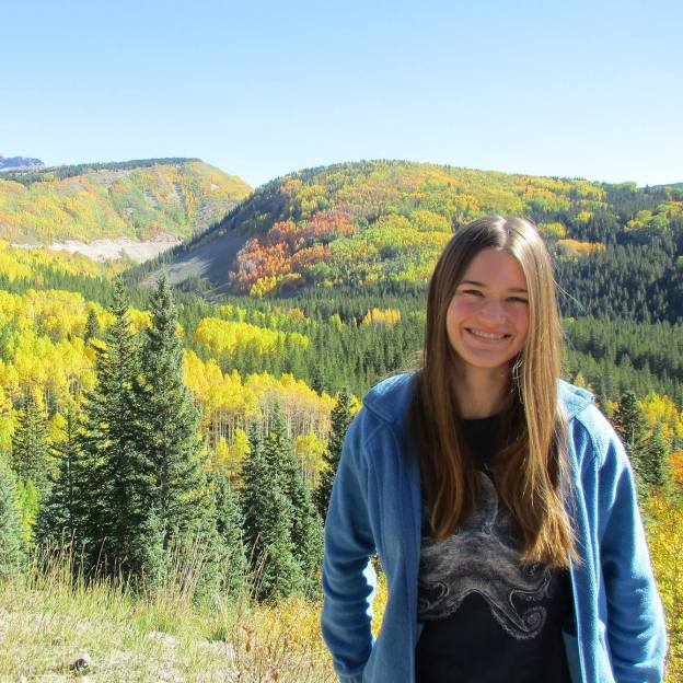 Rachel Fritts in front of fall scenery
